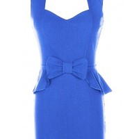 The Royal Blue Front Bow Dress