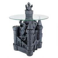 Lord Langton's Castle Glass-Topped Sculptural Table - CL0006 - Design Toscano