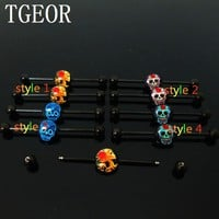 1 pair  surgical Stainless Steel flower skull laser cut black industrial barbell piercing