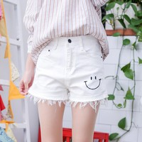 Smile Face Cut Out Shorts Women Denim White Shorts Kawaii Fashion All-match Cotton Summer Shorts