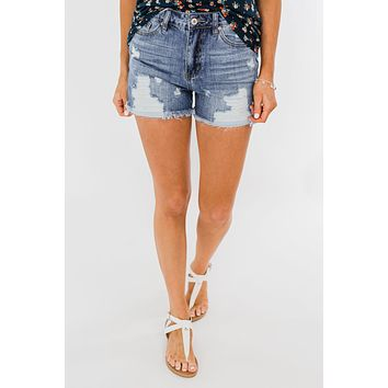 KanCan Distressed Shorts- Kayla Wash