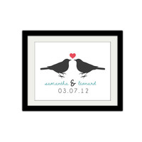 "Love Birds. Couples poster. Heart. Love. Custom Names. Valentines Day. Wedding. Anniversary. Gift Idea. 8.5x11"" Print."