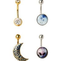14G Steel Silver & Moon Alien Moon Navel Barbell 4 Pack