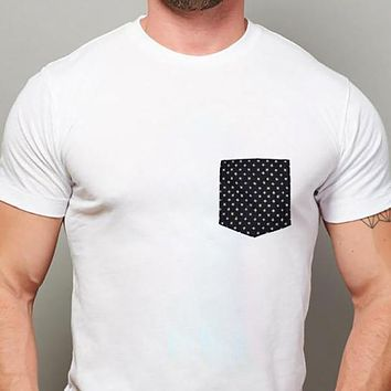 A Few Pieces Just Found! White with Denim Stars Print Pocket Tee Size XL Available