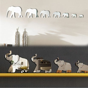 7 Elephants Mirror Wall Stickers Color Silver New Home 3D Decoration Wall Stickers Environmental Removable HG-WS-1738 = 1706192644