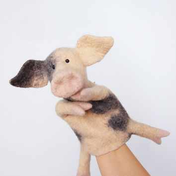the piglet hand puppet, wet felted. MADE TO ORDER