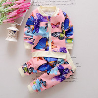 2PCS Baby Toddler Kids Girls Clothes Butterfly Cardigan Tops+Pants Outfits Set