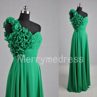 One-shoulder Flower Ruffled Strapless Empired Long Bridesmaid Celebrity Dress, Chiffon Formal Evening Party Prom Dress Homecoming Dress