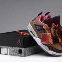 ONETOW VAWA Mens Air Jordan 4 Retro Leather LV Basketball Shoes Grey Brown