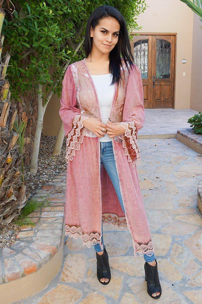 Image of Think Of Me Mauve Pink Lace Midi Duster Cardigan