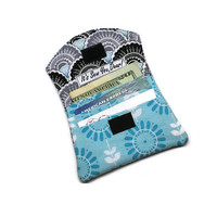 Small vegan cards holder minimalist wallet.  Aqua and black. Handmade under 15 gift for her. Business card holder with velcro.