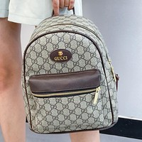 GUCCI GG letter print stitching color ladies shopping backpack school bag Daypack