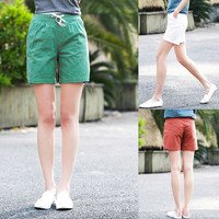 Women's Summer Solid Color Drawstring Waist Casual Shorts