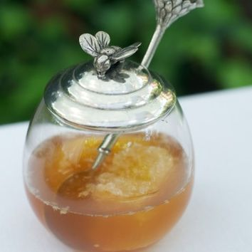 Bee Glass Honey Pot with Spoon