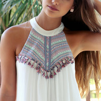 Sweet Sizzle Ivory Fringe Shift Dress