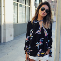 Black Floral Print Long Sleeve Blouse