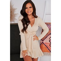 Cream Of The Crop Surplice Sweater Dress (Beige)