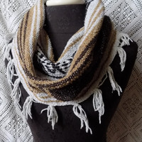 Chocolate Caramel Mexican Blanket Small Cowl Scarf with Fringe- Free Shipping to Continental US