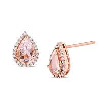 1.00 CT Morganite Pear Cut Stud Earring in 18K