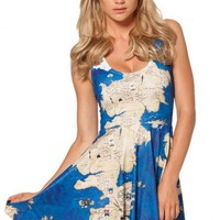LUCLUC Blue Map-pattern Dress - LUCLUC