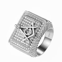 Masonic G Ring Custom Sterling Silver Iced Out Simulated Diamonds Freemason Mens