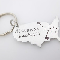 Long distance gift, Handstamped Keychain, Long distance Love, Going away gift, ldrship, long distance family, long distance friends,Miss you