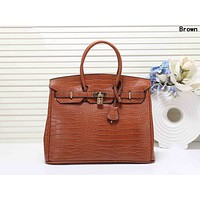 Hermes Newest Popular Women Leather Handbag Tote Shoulder Bag Brown