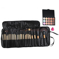 15 Color Beauty makeup Concealer Platte + 24pcs Pro Makeup Cosmetic Brushes + Sponge Puff Set 2016 Hot Sale