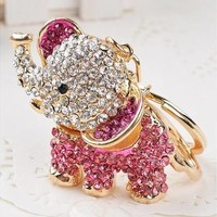 Animal Crystal Golden Color 3D Elephants Animal Key Chain Charm Pendant Keychain Key Ring [8802094220]