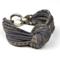 CIJ Christmasinjuly Dark Grey and Gold - Knotted Bracelet - Knot Fabric Bracelet Cuff - Chunky - Womens Accessories -Summer Jewelry Fashion