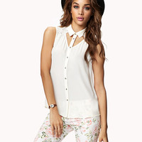 Cutout Lace Yoke Shirt