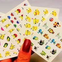 5 Sheet Nail Art Pikachu Nail Decal, Poke Ball Nail Design, Assorted water transfer nail art, Anime Nail Decal, Pokemon Nail Design, Cartoon Nail Art, Easy to apply Decals, Waterslider, Sticker