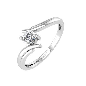 IGI CERTIFIED | 14k White Gold Solitaire Diamond 1/4 Carat ByPass Engagement Ring Band (White, Yellow, Rose)