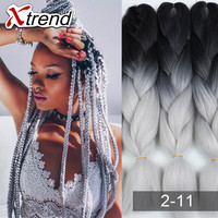 100gram 24inch Kanekalon Braiding Hair For Box Braids Synthetic Ombre Braiding Hair Crochet Jumbo Braid Black Grey Burgundy
