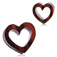 Organic Sono Wood Heart Tunnel Plug