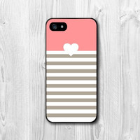 New 2015 Hot Style Romantic love Pink Heart Striped Bottom Protection Cover Hard Case for iphone 4 4s 5 5s 5c 6 6s 6plus 6s plus