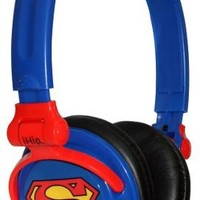 iHip DCF2400SU Classic Superman Logo Hi-Fi Noise Reducing, Folding Headphones Blue/Red (Discontinued by Manufacturer)