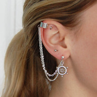 Silver Ship Wheel Earring and Ear Cuff by theriveriseverywhere