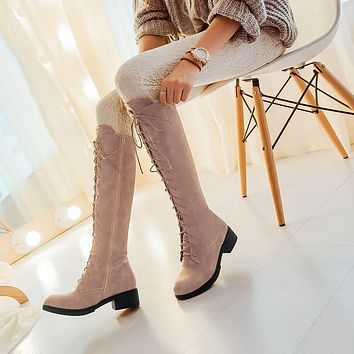 Lace Up Woman's Tall Boots Shoes
