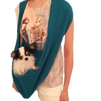 BEST DOG CARRIER Sky Blue PET BAG in 100% Italian Wool seen on SHARK TANK