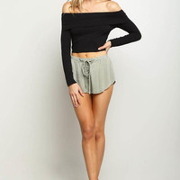 Black Summer Tan Off Shoulder Crop Top