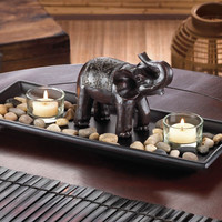 Carved Elephant River Rock Tealight Candle Set