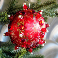 Christmas Ornament, Red Ball with Gold & Pearl Accents in Gift Box, Handmade Fabric Tree Decoration, Holiday Decor, Boxed Wrapped Present
