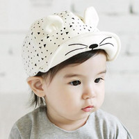 1 Piece Cotton Cat Infant Sun Summer Outdoor Girls Unisex Boys Baby Hats Baseball Cap Cute 2 colors Toddlers
