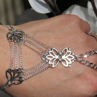 Lotus Hand Chain Slave Bracelet, Ring Bracelet, Silver, Triangle, Floral, Bracelet, Jewelry, for your Hand, Custom, Sized, Adjustable