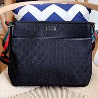 GUCCI Fashion New More Letter Canvas Shoulder Bag Crossbody Bag Black