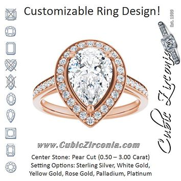 Cubic Zirconia Engagement Ring- The Natascha Eva (Customizable Cathedral-raised Pear Cut Halo-and-Accented Band Design)