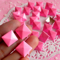 Rivet / PINK Metal Pyramid Rivet Studs / Square by MiniatureSweet