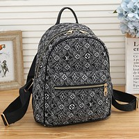 LV Louis Vuitton 1854 canvas embroidered letters shopping backpack school bag travel bag luggage bag Daypack Black