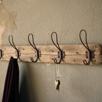 Recycled Wooden Coat Rack with Rustic Hooks